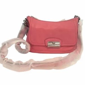 Coach pink Kristen leather east/west crossbody bag